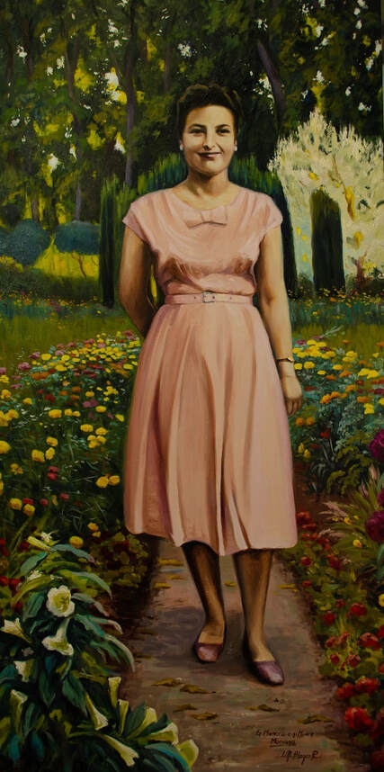 Painting, oil, portrait, lady, woman, garden, flowers, cypress, trees, Mediterranean, Spanish,
