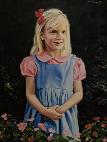 Picture, Oil painting, canvas, girl, little, kid, child, flowers, garden, realism, portrait, pink, dress,